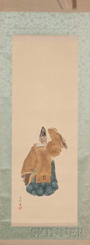 Pair of Hanging Scrolls Depicting Noh Actors