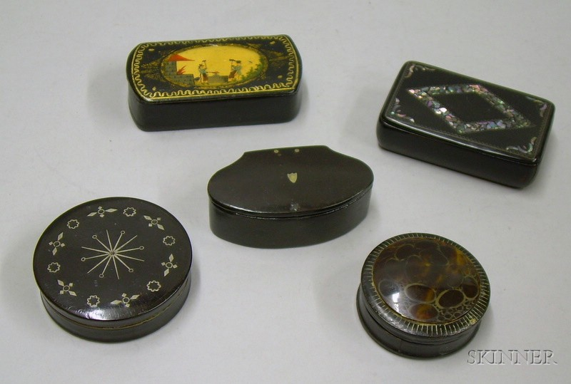 Five Small Victorian Papier-mache Boxes