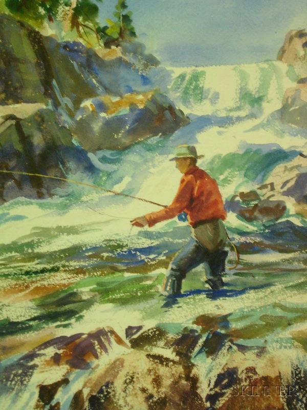 John whorf american 1903 1959 fishing under the falls for John skinner fishing