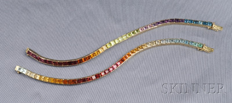 Pair of 14kt Gold and Multi-gem Bracelets