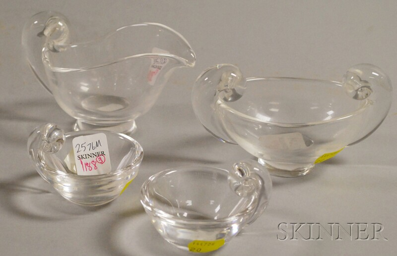 Three Steuben Colorless Glass Salts and a Creamer