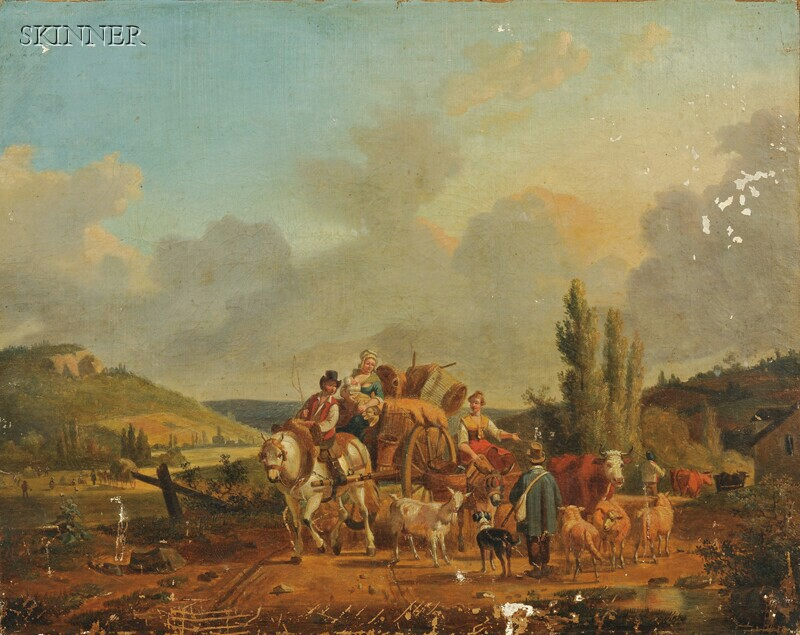 Jean-François Demay (French, 1798-1850)    Travellers on a Country Road