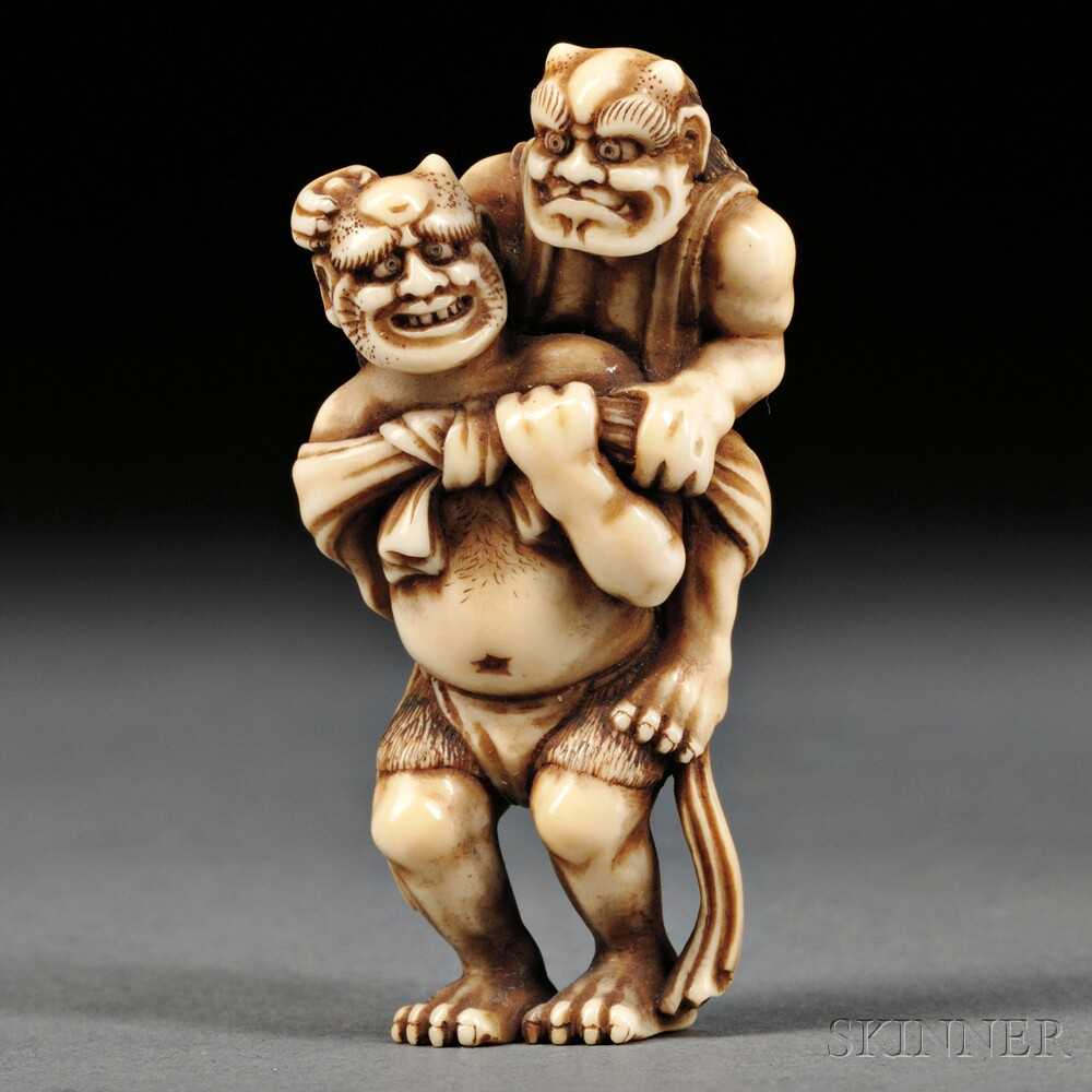 Ivory Netsuke of Two Oni