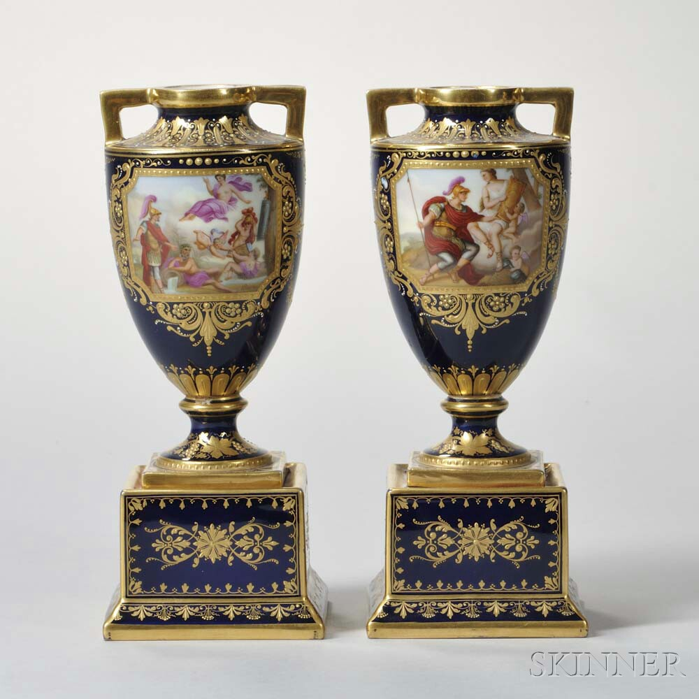 Two Pairs of Austrian Porcelain Vases