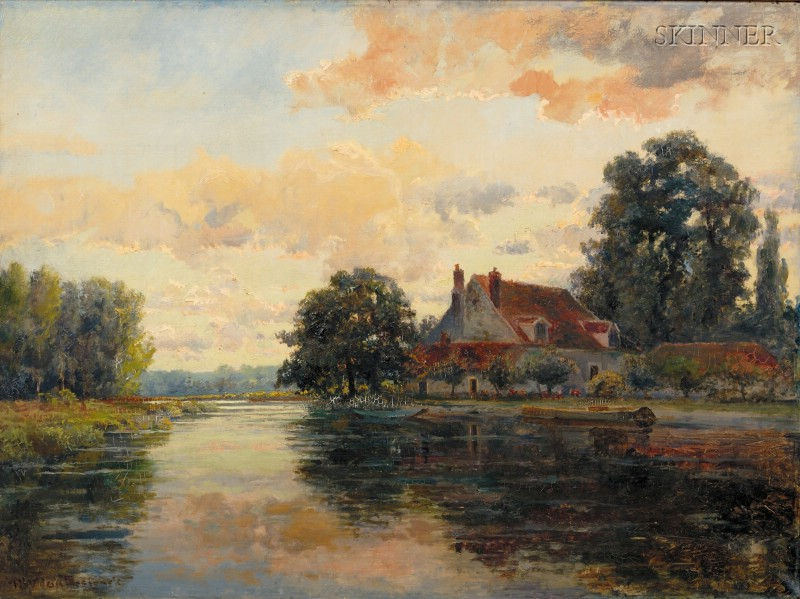 Robert Ward van Boskerck (American, 1855-1932)      Cottage on a River, Sunset