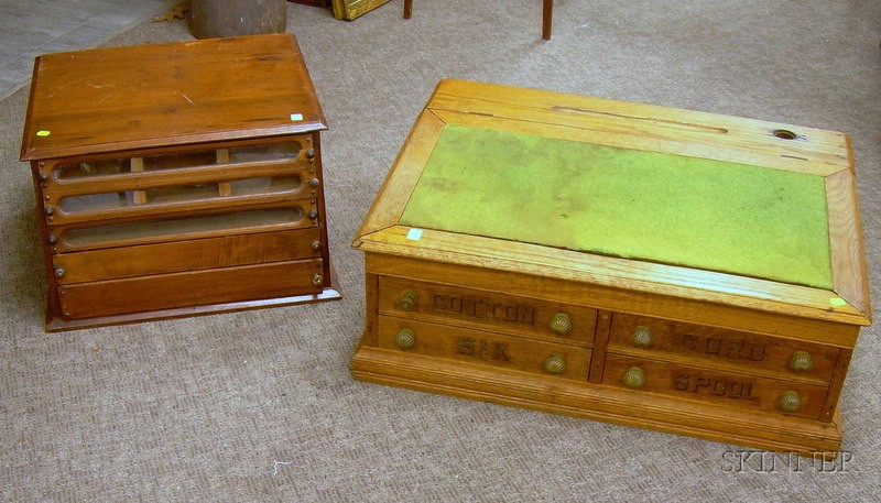 Two Late Victorian Oak Retail Counter-top Spool Cabinets