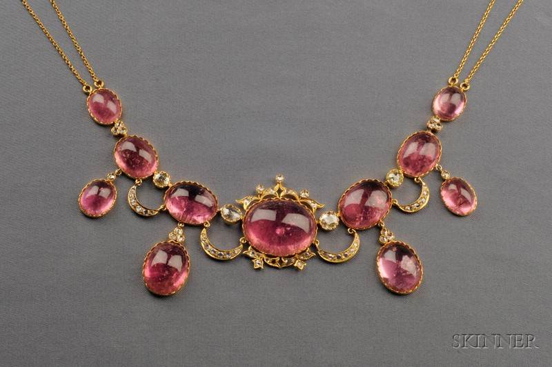 Antique Pink Tourmaline and Diamond Fringe Necklace