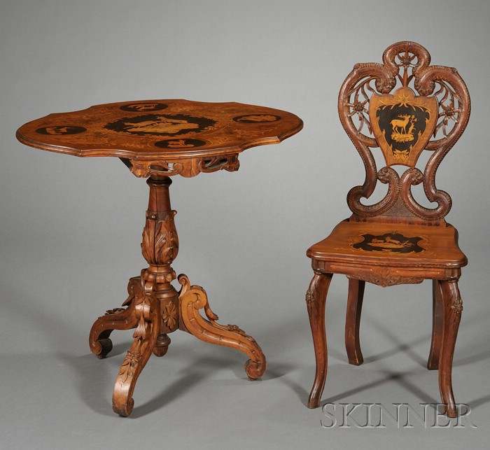 """Two Pieces of Swiss Marquetry-inlaid and Carved Walnut """"Black Forest"""" Furniture"""