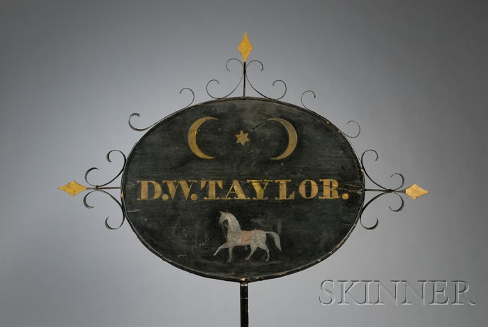 Painted Pine, Wrought Iron, and Zinc Tavern Sign