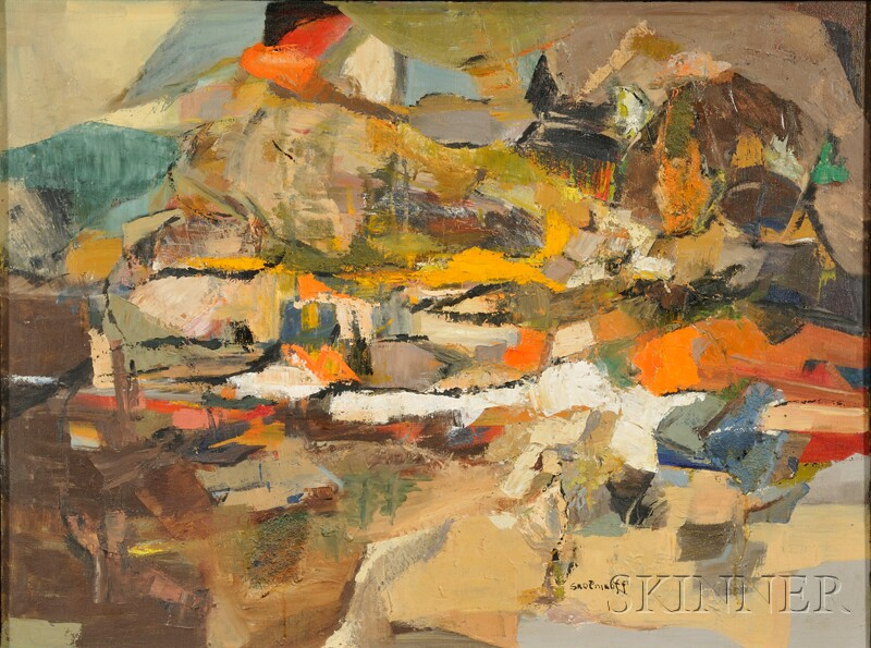 Betty E. Skolnikoff (American, 1902-1998), Nine Abstract Works, Including Ocean Patterns, Summer Shore, Snow Fence, Radial, Cascade and
