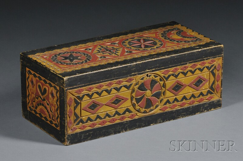 Polychrome-painted Carved Pine Box