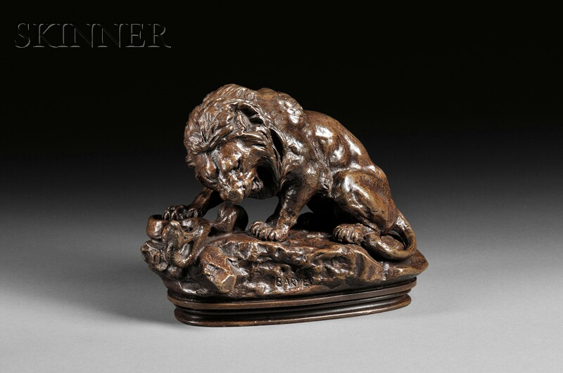Antoine-Louis Barye (French, 1796-1875)      Lion au serpent No. 2   [Lion and Serpent No. 2]