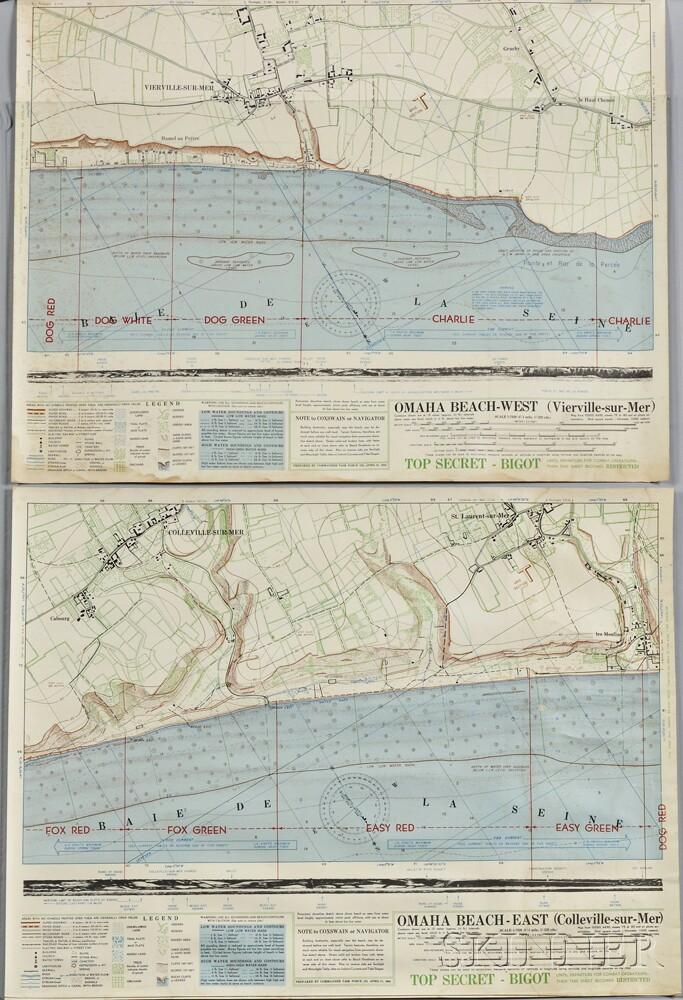 Two Bigot D-Day Coxswain Navigational Charts
