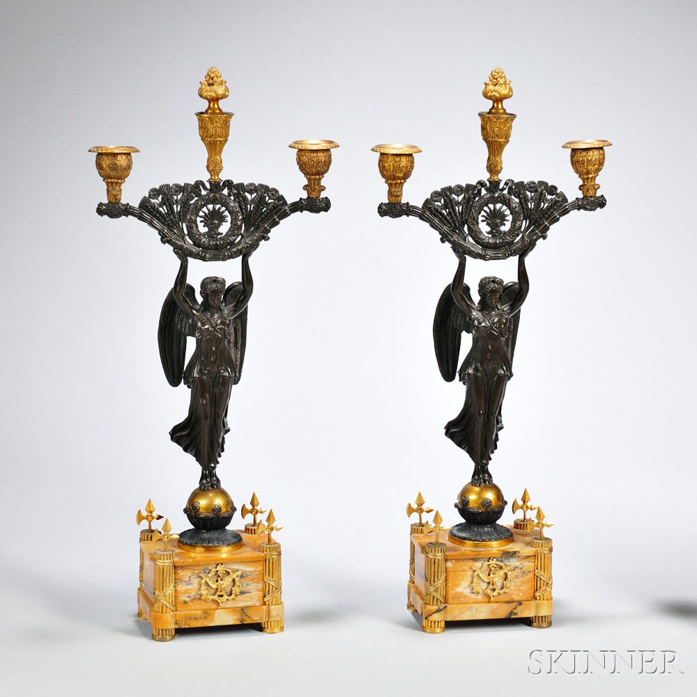 Pair of Empire Gilded and Patinated Bronze Figural Three-light Candelabra