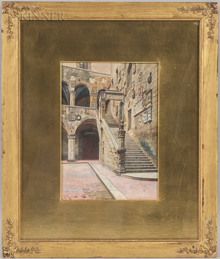 A. Marrani (Italian, 19th/20th Century)      Bargello Courtyard