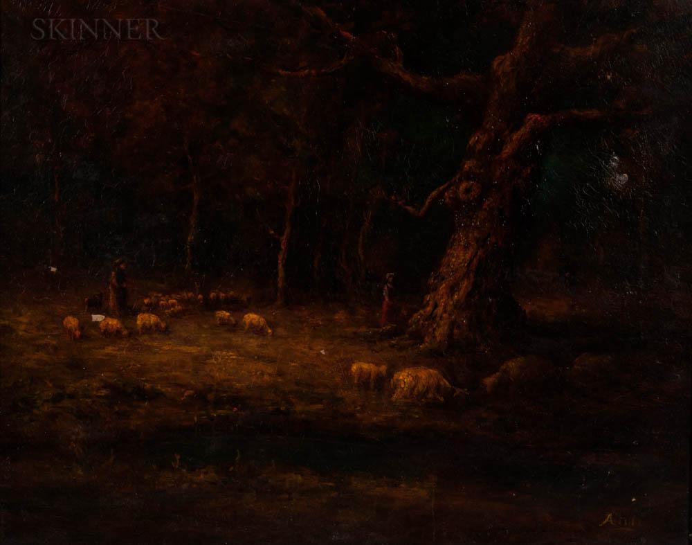 Henry Hammond Ahl (American, 1869-1953)      Sheep in a Wood
