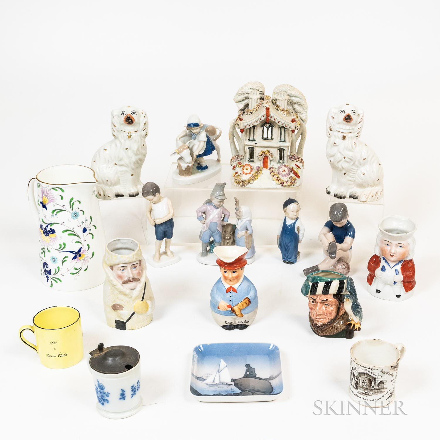 Group of Staffordshire and Royal Copenhagen Porcelain Tableware