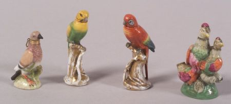 Four Small Continental Bird-form Porcelain Perfumes