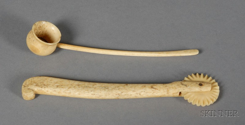 Carved Whalebone Pie Crimper and Small Ladle