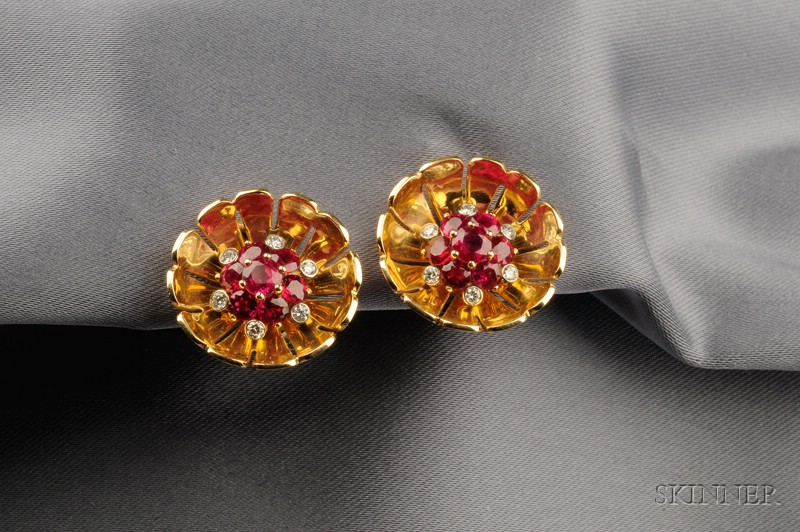 18kt Gold, Ruby, and Diamond Flower Earclips, Aletto Bros.