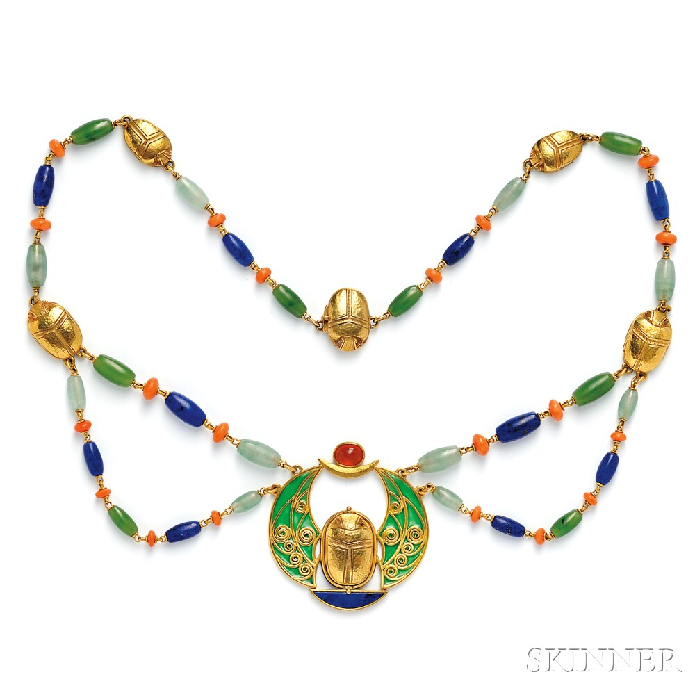 Egyptian Revival 18kt Gold and Plique-a-Jour Enamel Gem-set Necklace, Marcus & Co.