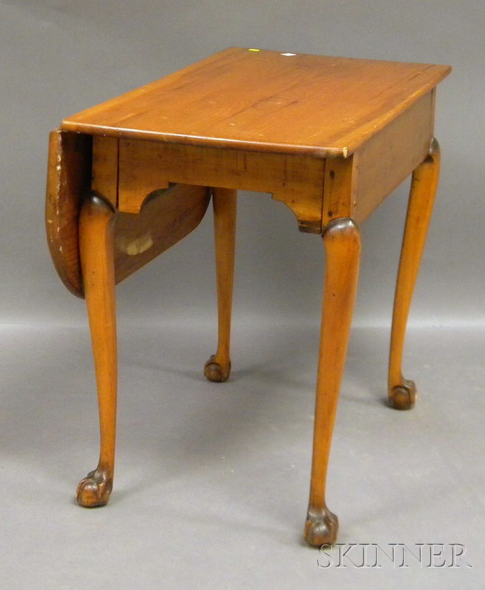 Chippendale Pine and Carved Maple Table with Single Drop Leaf