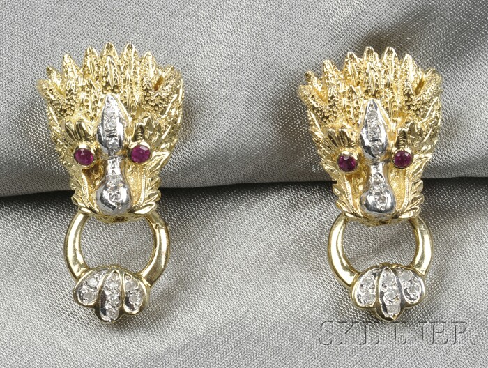 14kt Gold, Ruby, and Diamond Earclips