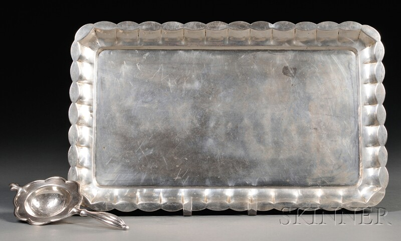 Austro-Hungarian Silver Tray and a Tea Strainer