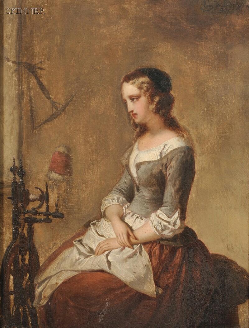 Eugène François de Block (Belgian, 1812-1893)      Woman Seated Beside a Spinning Wheel