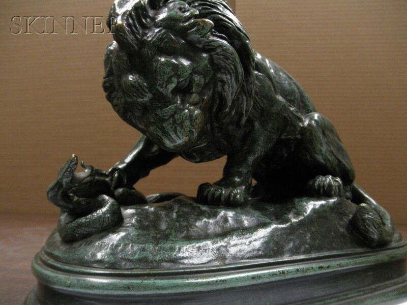 Antoine-Louis Barye (French, 1796-1875)      Lion et Serpent No. 1