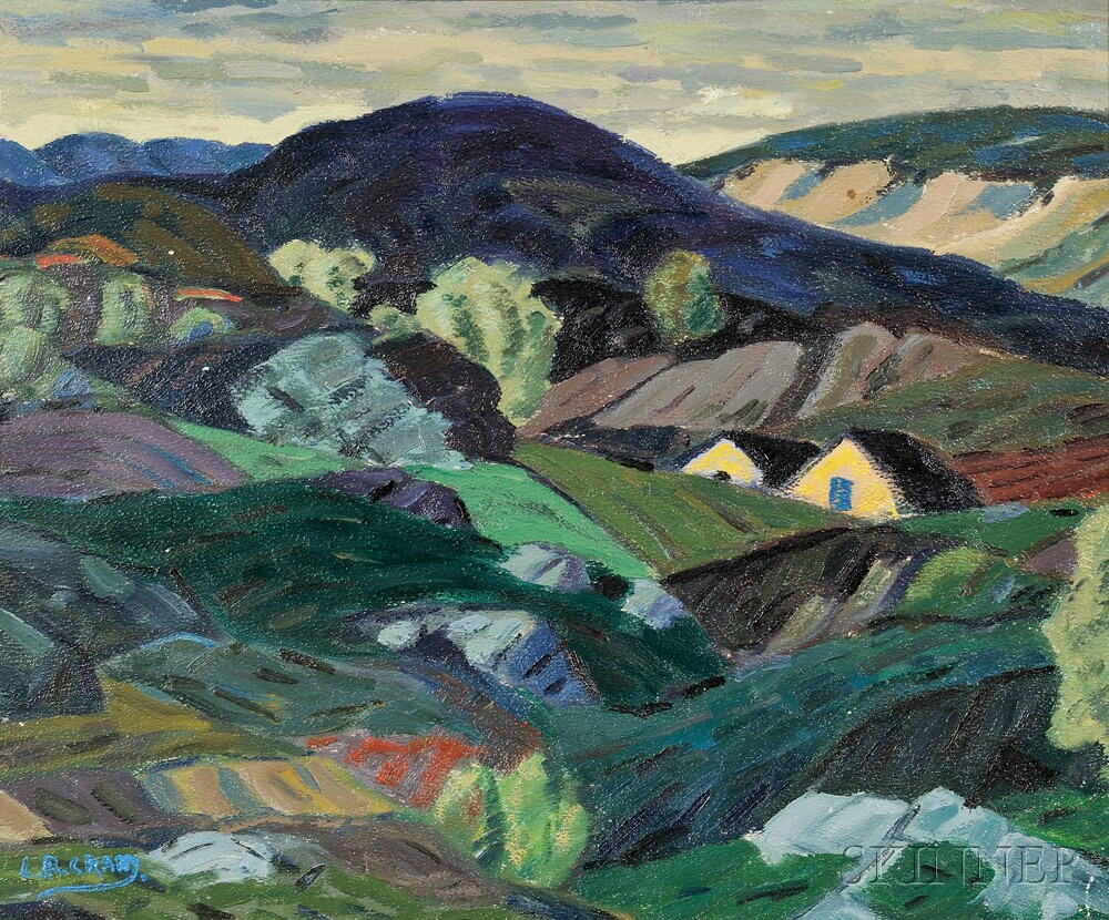 Leighton Cram (American, 1895-1981)      Patchwork Hills and Distant House Gables.