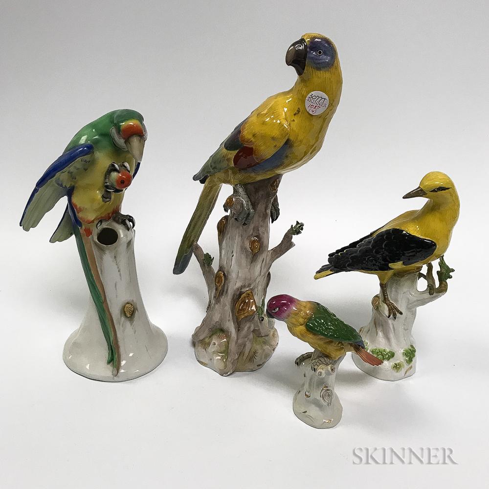 Four Porcelain Bird Figures