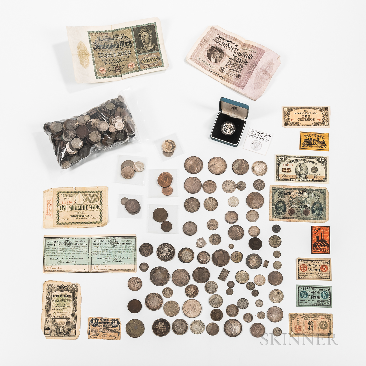 Large Group of Early World Coins and Currency