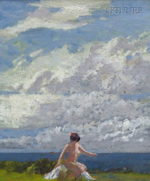 American School, 19th/20th Century      Nude by the Coast