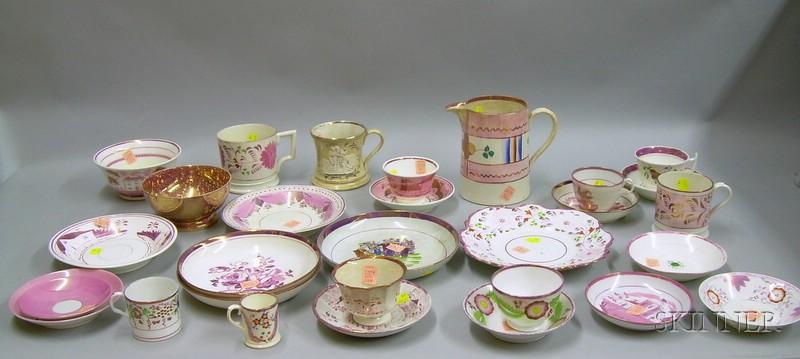 Twenty-nine Pieces of Assorted English Pink Lustre Tea and Tableware.