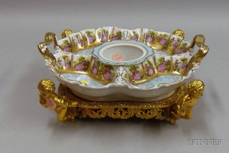 Hand-painted Gilted Austrian Porcelain Centerpiece
