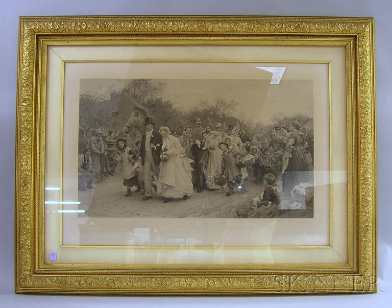 Large Victorian Gilt-gesso and Wood Framed Engraving A Village Wedding