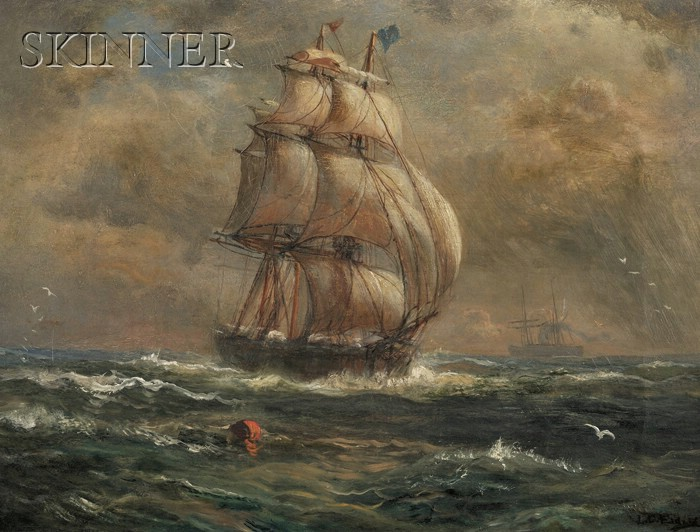 Lemuel D. Eldred  (American, 1848-1921)      View of a Clipper Ship at Full Sail