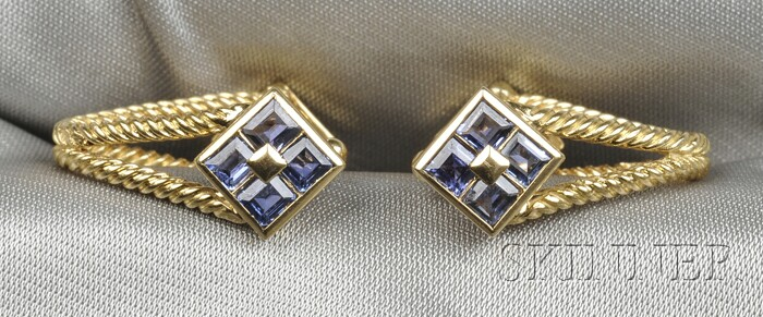 18kt Gold and Iolite Cuff Links