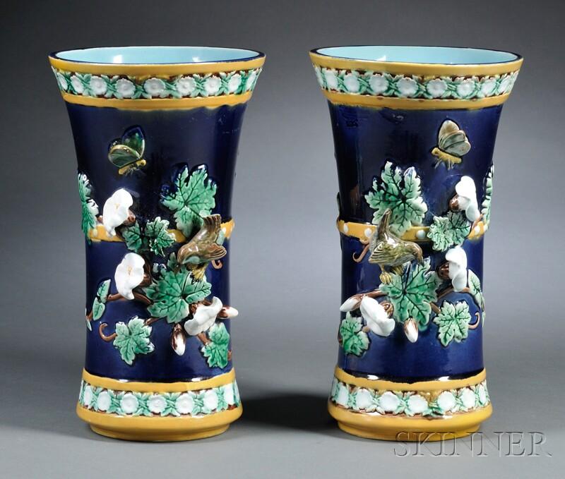 Pair of Joseph Holdcroft Majolica Vases