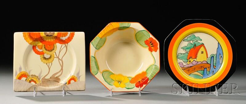 Three Clarice Cliff Bizarre Ware Dishes
