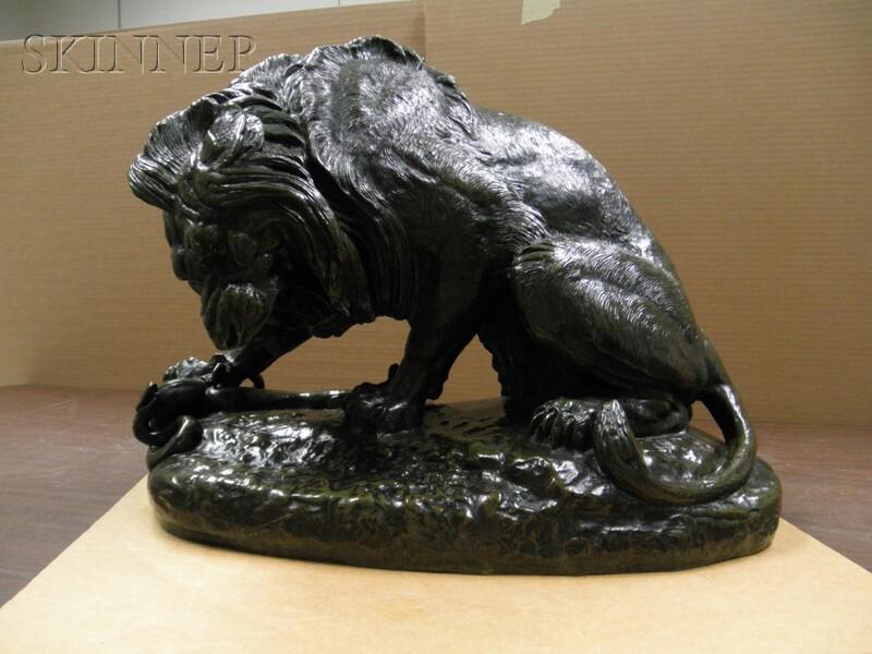 Antoine-Louis Barye (French, 1796-1875)      Lion au serpent (Salon de 1833)   [Lion and Serpent (1833 Salon)] / 1er réduction