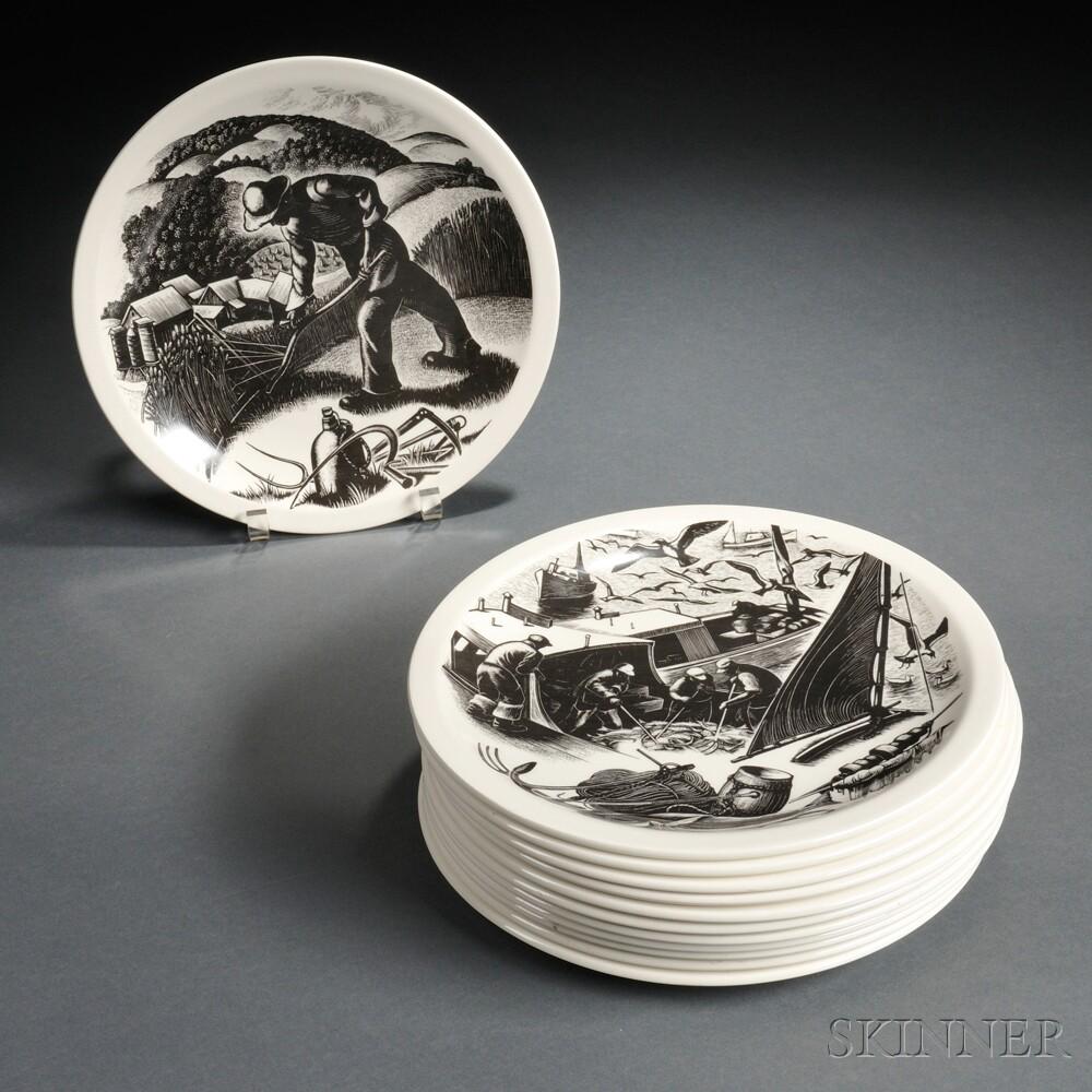 Twelve Wedgwood Queen's Ware New England Industries   Plates