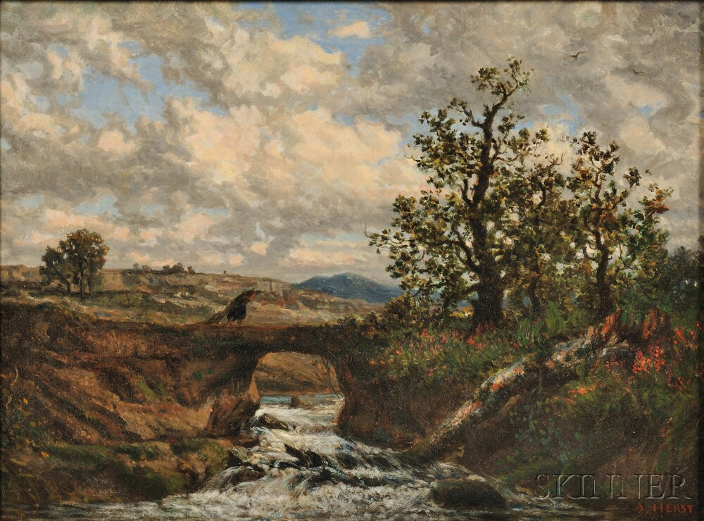 Auguste-Clément-Joseph Herst (French, b. 1825)      Landscape with Peasant Crossing a Bridge