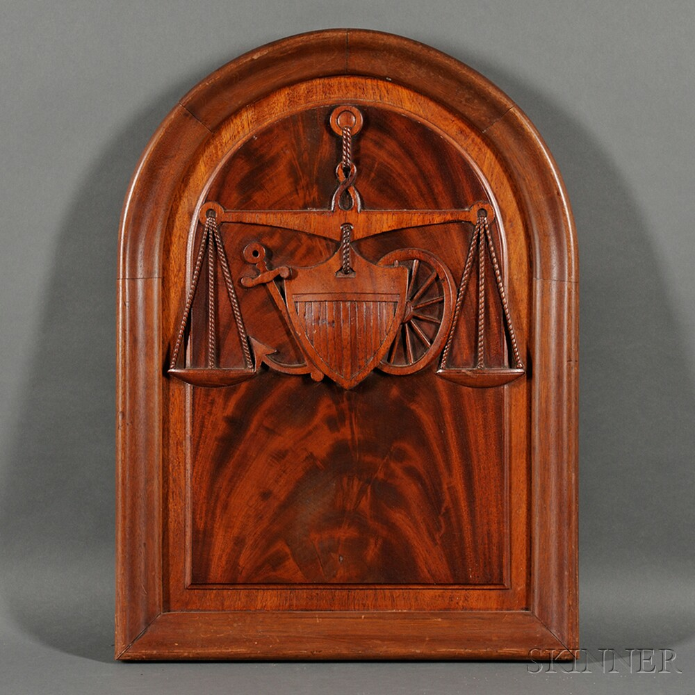 Mahogany Carved Plaque with American Symbols