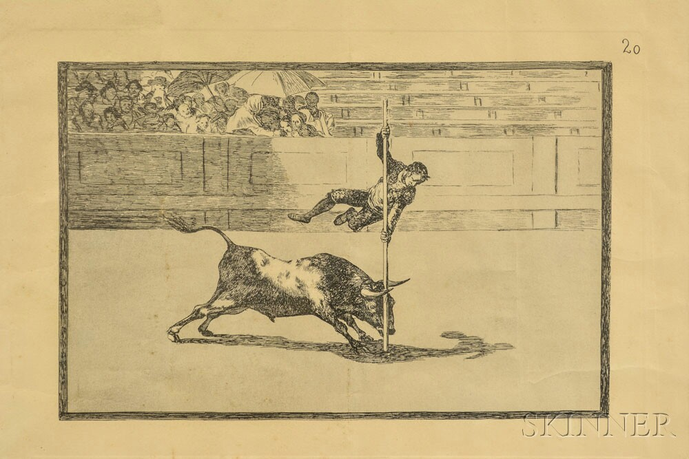 """Two Framed Goya Print Facsimiles: Tauromachia   and """"Bull Fight."""""""