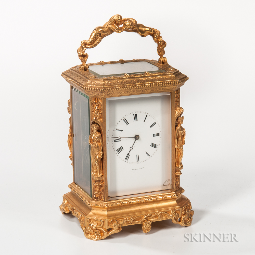Gilt-brass Rococo-style Carriage Clock