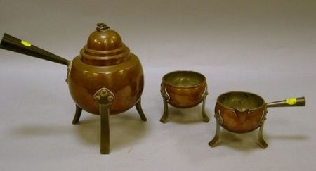 Three-Piece European Arts & Crafts Iron Mounted Hammered Copper Hot Water Pot, Creamer, and Sugar Set.