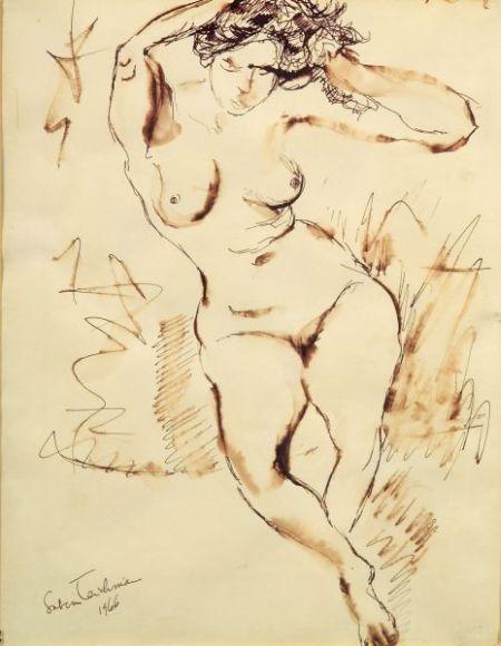 Lot of Three Figural Drawings:    Chaim Gross (American, 1904-1991)