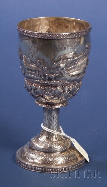 American Silver Repousse Goblet